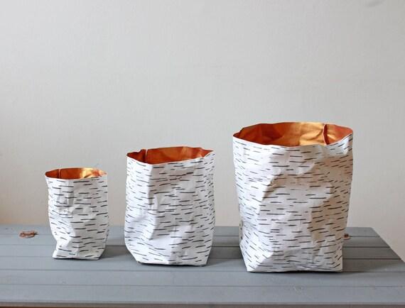 Sac en papier, papier lavable, conception d'écorce de bouleau, style nordique, naturel, rustique, plantleur, scandinave, éco, décor de Noel