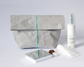 Make up bag   made from washable paper   Cosmetic bag   Toiletry storage bag   Wash bag   Bathroom Storage   Concrete look     Minimalist