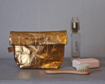Or Make up bag | fabriqué à partir de papier lavable | Sac à cosmétiques | Trousse de toilette rangement | Laver le sac | Rangement de salle de bain