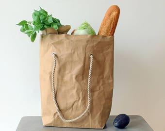 Sac d'épicerie, papier tote sac, sac en papier lavable, sac en papier kraft brun, sac cabas original, faire du shopping, sac de marché, vegan, eco, vert vie
