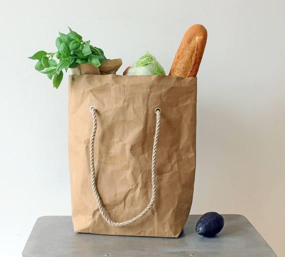 Sac d'épicerie, sac fourre tout en papier, sac en papier lavable, sac en papier kraft brun, sac fourre tout original, shopping, sac de marché,
