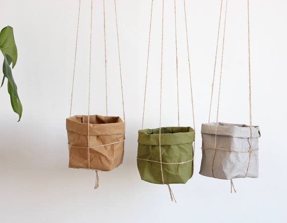 Übertopf hängeampel Papier Makramee Pflanzer waschbar | Etsy