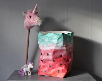 SALE - Watermelon bag, paper basket, washable paper bag, kids room, nursery storage