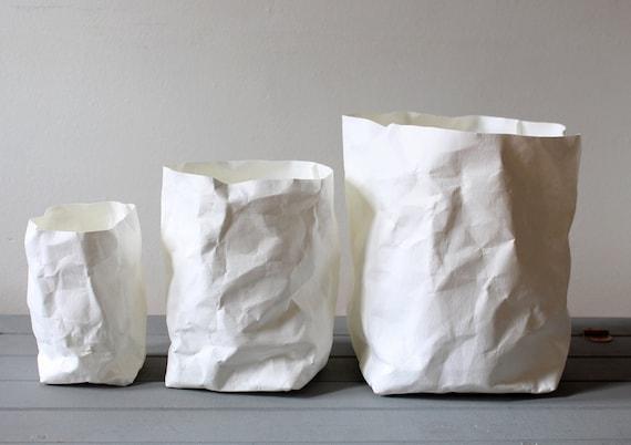 White Paper Bag Washable Paper Pot Basket Bins Storage | Etsy