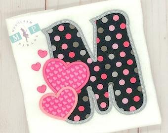 Girl's Valentine's Day Heart Alphabet Bib, Shirt or Bodysuit - Valentine's Day - 1st Valentine's Day - Baby Valentines - Hearts - Initials