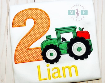 Boys Tractor Birthday Shirt - Apple Birthday - Apple Tractor - Farm Birthday - Green Tractor