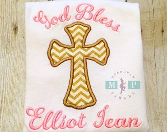 Girls Christening gown - Baptism Gown - Christening outfit - monogram cross - God bless this child - 1st communion
