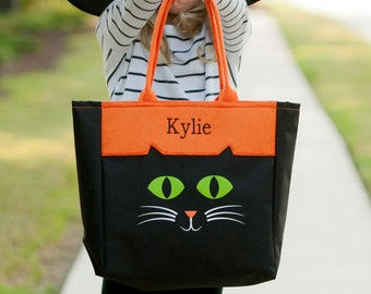 Cat Halloween Tote, Trick or Treat Totes, Trick or Treat Bag, Candy Bag, Halloween Bag, Halloween Character Tote, Trick or Treat