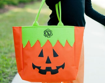 Pumpkin Halloween Tote, Trick or Treat Totes, Trick or Treat Bag, Candy Bag, Halloween Bag, Halloween Character Tote, Trick or Treat