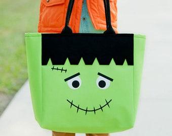 Frankenstein Halloween Tote, Trick or Treat Totes, Trick or Treat Bag, Candy Bag, Halloween Bag, Halloween Character Tote, Trick or Treat