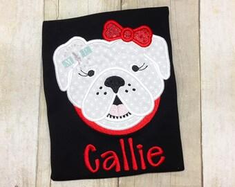 Girls Bulldog shirt - Monogram Bulldog - College football - bulldog mascot - go dogs - go dawgs - dog shirt