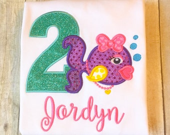 Girls Fish Birthday Shirt or Bodysuit - Under the Sea birthday - Glitter Birthday Shirt - Any year available