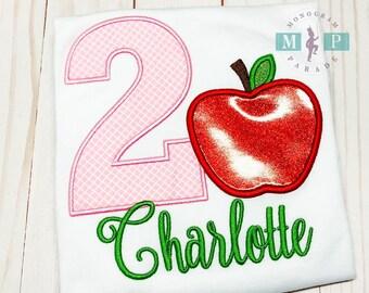 Girls Apple Birthday Shirt - Apple Birthday Shirt - Apple Orchard - Farmers Market- Fall - Autumn Birthday Ideas - Applique Shirt
