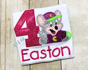 Chuck E Cheese Birthday Shirt - Any Birthday Year - Girls Birthday Shirt - Monogrammed Birthday Shirt - Chuck E Cheese
