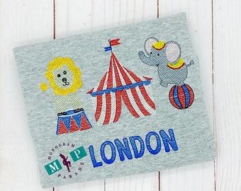 Boys Circus Shirt - Circus Elephant - Big Top - Monogram Circus - Sketch Embroidery - Vintage embroidery