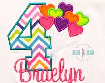 Girls Birthday Shirt - Balloon Birthday - Rainbow birthday