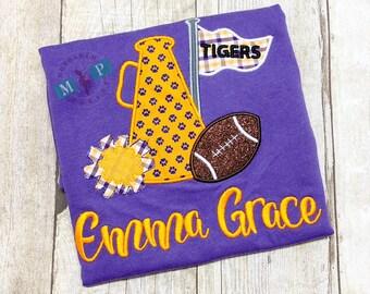 Cheerleader Megaphone Football Shirt or Bodysuit - Customize to your favorite team - Tigers - Gameday shirt - girls football shirt