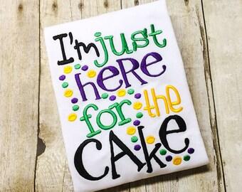 Here for Cake Bib, Bodysuit or Shirt - Boys Mardi Gras Shirt - Mardi Gras Baby - 1st Mardi Gras - King Cake - Mardi Gras Beads - Mardi Gras