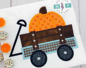 Boys monogram pumpkin shirt - halloween shirt - pumpkin appliqué - pumpkin shirt or bodysuit - halloween shirt - pumpkin wagon