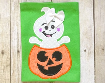 Girls Ghost Halloween Shirt - Pumpkin Shirt - Jack-o-lantern - Halloween Shirt - Girly Ghost