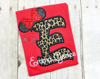 Miss Mouse Leopard Print Shirt - Monogram Mouse Shirt - Animal Print Mouse - Glitter Mouse Ears