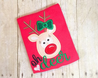 Girls Reindeer Shirt - oh deer - christmas shirt