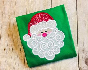 Girls Santa Shirt - First Christmas - Swirly Santa - Monogrammed Santa Shirt - Girls Christmas Shirt