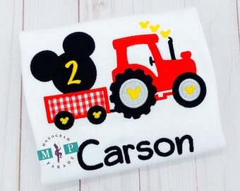 Mr Mouse Shirt - Tractor Birthday - Magical - Farm - Green Tractor - tractor appliqué