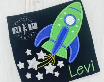 Boys Space Shirt- Rocket - Space Shuttle - Rocket Ship - USA - outer space
