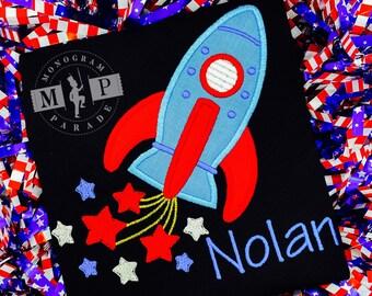 Boys 4th of July Shirt -Merica - American Flag - Patriotic -Rocket Ship - USA