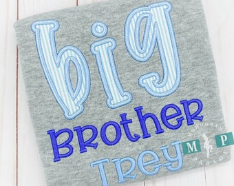 Big Brother Shirt - Big Brother - Big Bro - little bro - Monogrammed Brother Shirt - new baby announcement