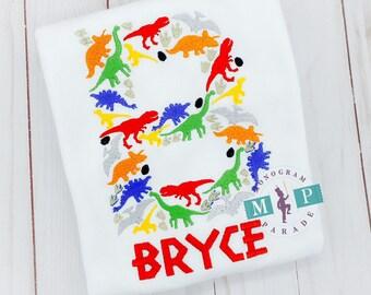 Boys Dinosaur Shirt - TRex Shirt - Dinosaur Birthday - Dinosaur Shirt - Monogram Dinosaur
