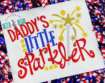 Daddy's little sparkler -  4th of July - 1st 4th of July - Fourth of July - memorial day - Patriotic - sparkler - firework - daddy/daughter