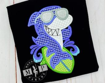 Shark Shirt - Baby Shark - Monogram Shark - Surfer Shark - Surfing - surf board - hang 10 - shark appliqué