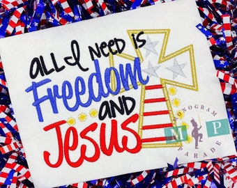 American Flag Shirt - July 4th -Memorial Day - Boys 4th of July Shirt - Freedom and Jesus - fireworks - memorial day - patriotic