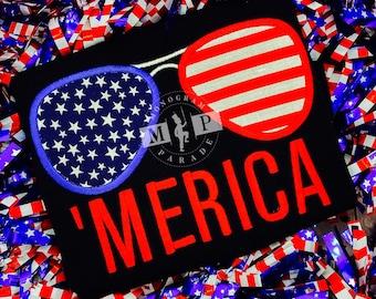Boys 4th of July Shirt -Merica - American Flag - Patriotic -aviators - sunglasses - USA