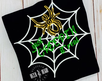 Halloween Spider Shirt, Boys Halloween Shirt, Creeping it real - Spider web