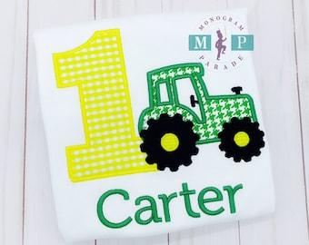 Boys Tractor Birthday Shirt - Farm Birthday - Little green tractor