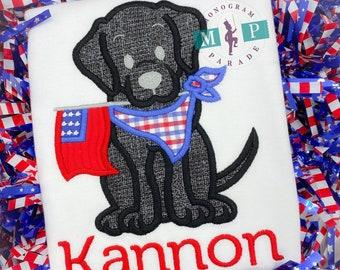 Boys 4th of July Shirt -labrador retriever - American Flag - Patriotic - Black Lab - yellow lab - chocolate lab