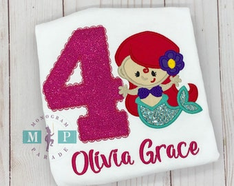 Mermaid Birthday Shirt - Monogram Mermaid - Girl Birthday Shirt - Glitter Mermaid - Mermaid Shirt
