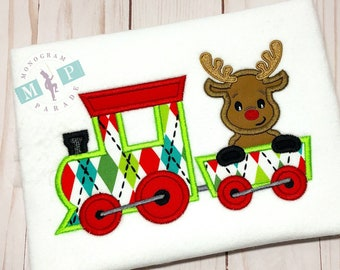 Boys Christmas Train Shirt - Christmas Reindeer - Reindeer train - Monogram Train - Monogram reindeer