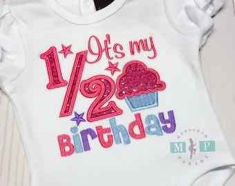 It's my 1/2 Birthday Bodysuit - half birthday - birthday bodysuit - Girls 1/2 birthday