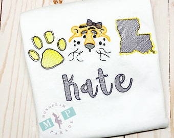 Tiger Trio Sketch Embroidery - Tiger Football Shirt - Tiger Baseball Shirt - Tiger Trio - Tiger Football - Girls Tiger Shirt