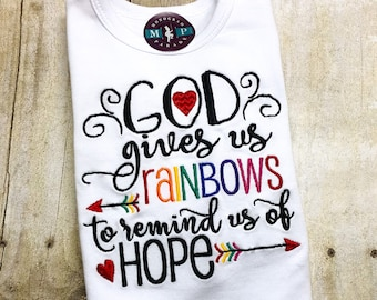 Rainbow Baby Gown or Onesie - God gives us rainbows - New Baby