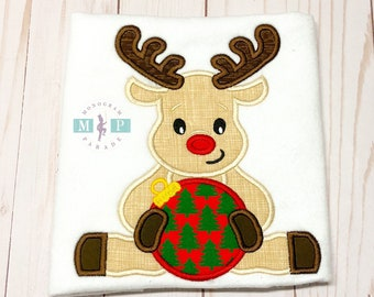 Reindeer Shirt or bodysuit - Boys Rudolph - Christmas Shirt - Christmas ornament