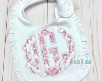 Pink Damask Bib, Shirt or Infant gown - Monogram Baby bib - Monogram Infant gown - Monogram baby gift