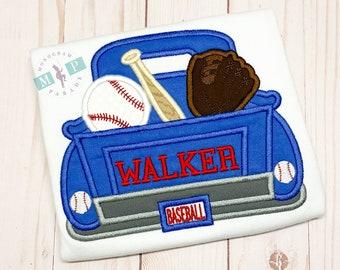 Boys Baseball Truck Shirt or Bodysuit - Baseball Truck - Baseball shirt - monogram truck - monogram baseball