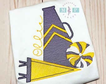 Cheerleader Shirt - Cheer Megaphone - Pom Pom - Sketch cheer design - Purple and Gold Cheer
