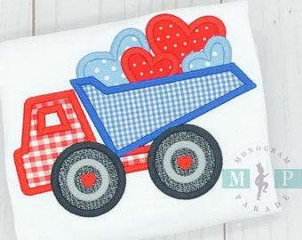 Boys Valentines Shirt - Dumptruck - Boys valentine truck