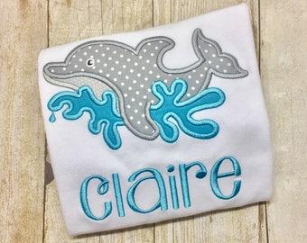 Girls Dolphin Shirt - Dolphin Splashing - Beach Trip - Monogram Dolphin - Girls Summer Shirt
